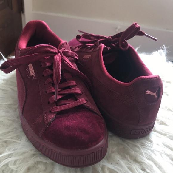 burgundy puma slippers